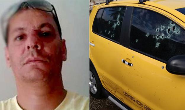 A vítima não resistiu e morreu no local. Tiros atingiram carro de um cliente que estava no local.