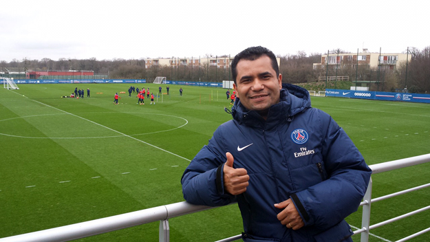 Acompanhando um dos treinos do Paris Saint Germain